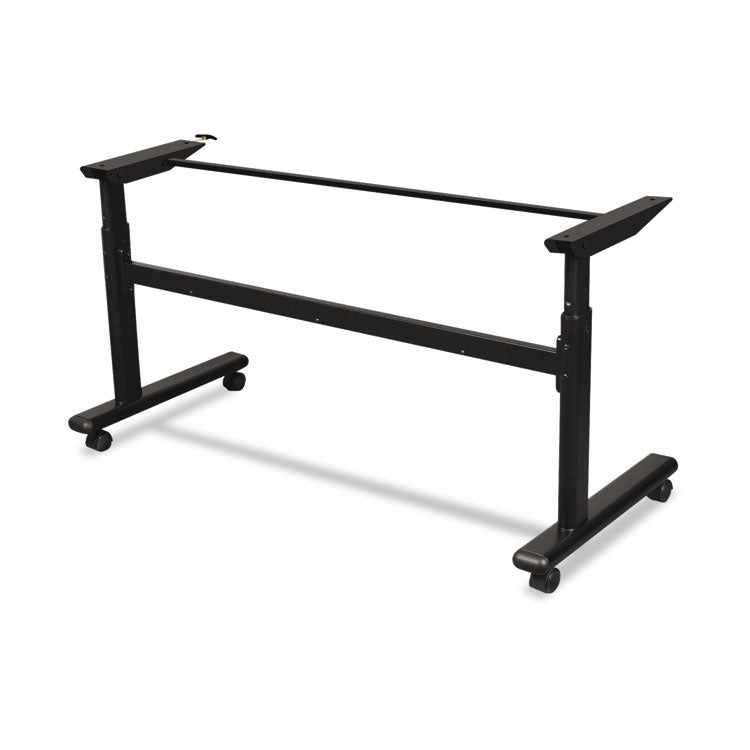 Height-Adjustable Flipper Table Base, 60w X 24d X 28-1/2 To 45h, Black