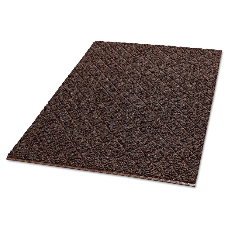 Unbacked Diamond-Deluxe Duet Vinyl-Loop Floor Mat, Vinyl, 36 X 60, Brown/caramel