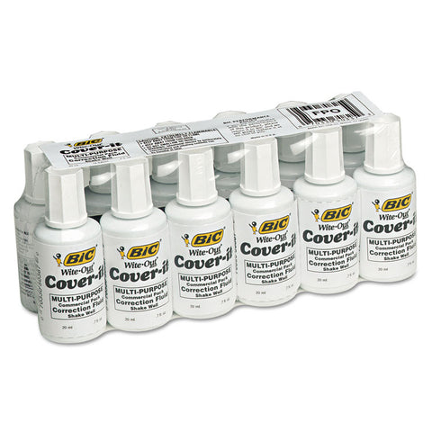 Cover-It Correction Fluid, 20 Ml Bottle, White, Dozen