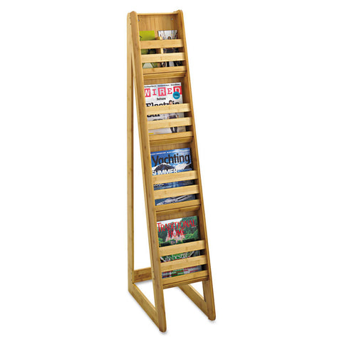 Bamboo Magazine/pamphlet Floor Display, 10w X 18-1/4d X 56-1/2h, Natural