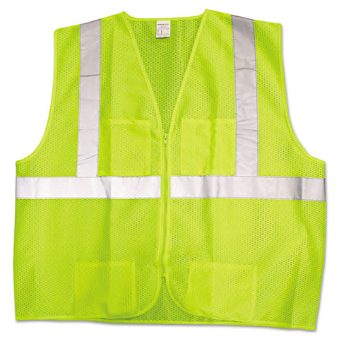 Ansi Class 2 Deluxe Style Vests, Lime/silver, X-Large/2x-Large
