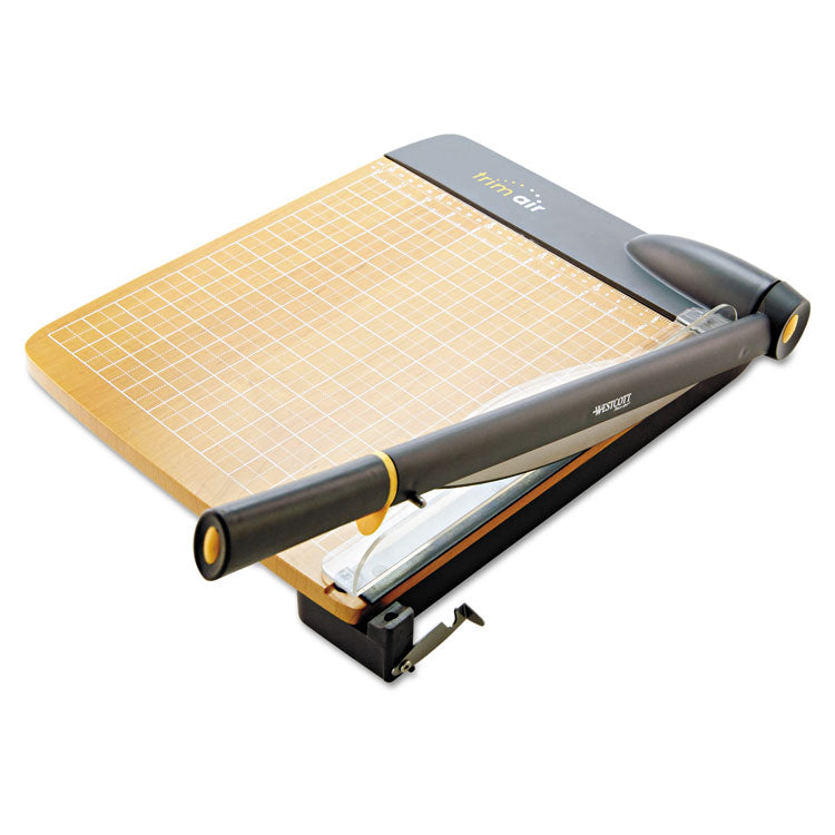 Trimair Titanium Guillotine Paper Trimmer, Wood Base, 12""