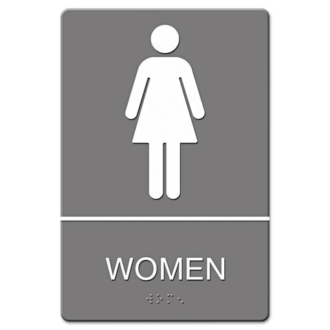 Ada Sign, Women Restroom Symbol W/tactile Graphic, Molded Plastic, 6 X 9, Gray