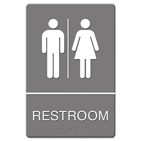 Ada Sign, Restroom Symbol Tactile Graphic, Molded Plastic, 6 X 9, Gray