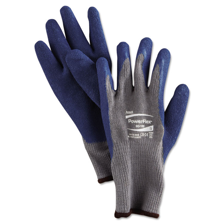 Powerflex Gloves, Blue/gray, Size 9, 1 Pair
