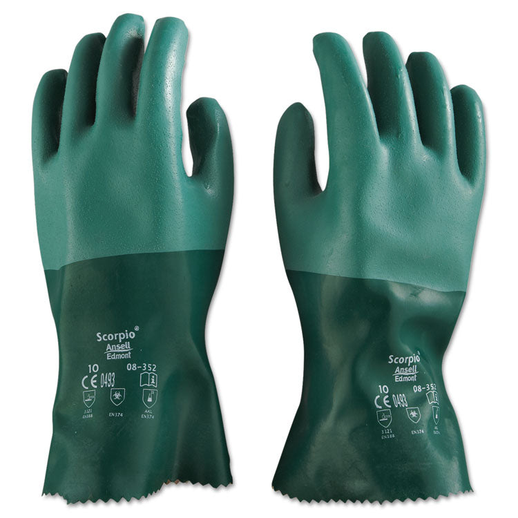 Scorpio Neoprene Gloves, Green, Size 10, 12 Pairs