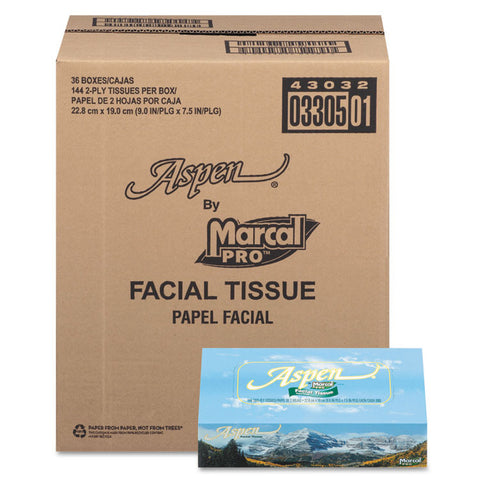 Aspen 100% Recycled Facial Tissue, 2-Ply, White, 144 Sheet/box