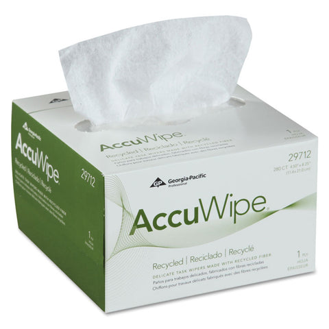 Accuwipe Recycled One-Ply Delicate Task Wipers, 4 1/2 X 8 1/4, White, 280/box
