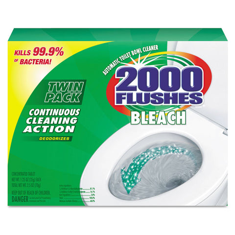 2000 Flushes Blue Plus Bleach, 1.25oz, Box, 2/pack, 6 Packs/carton