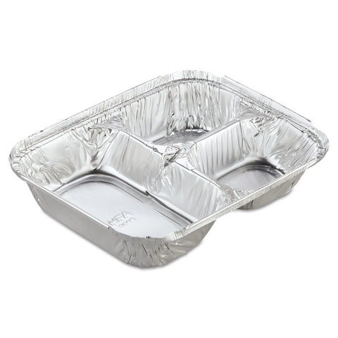 Aluminum Oblong Container With Lid, 3-Compartment