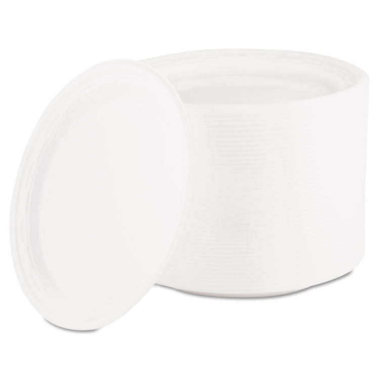"Famous Service Plastic Dinnerware, Plate, 6"" Dia, White, 125/pack"