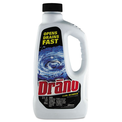 Liquid Drain Cleaner, 32oz Safety Cap Bottle, 12/carton