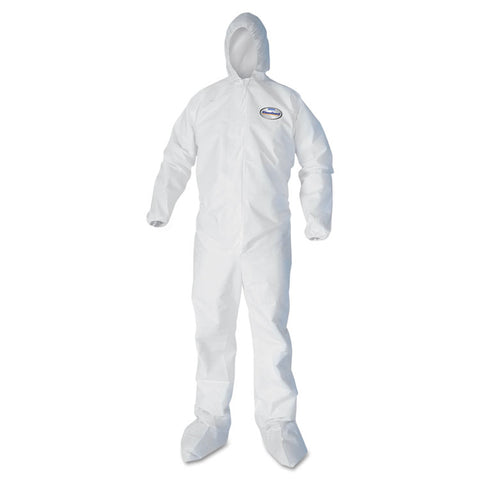 A30 Elastic Back And Cuff Hooded/boots Coveralls, White, 2xl,25/ct