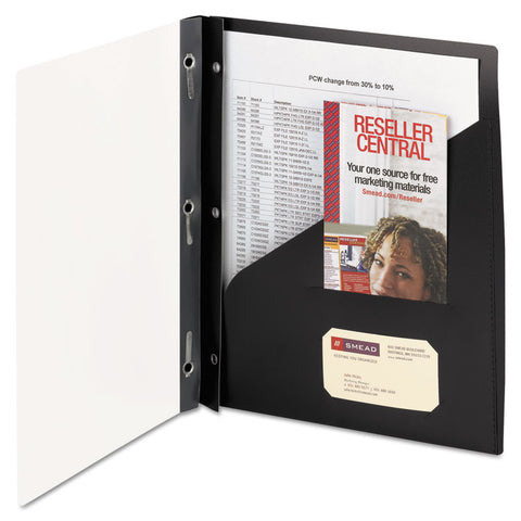 Clear Front Poly Report Cover With Tang Fasteners, 8-1/2 X 11, Black, 5/pack
