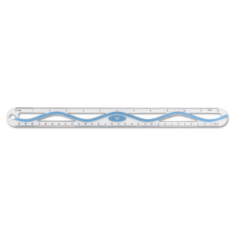 "12"" Plastic Wave Ruler, Standard/metric, Blue"