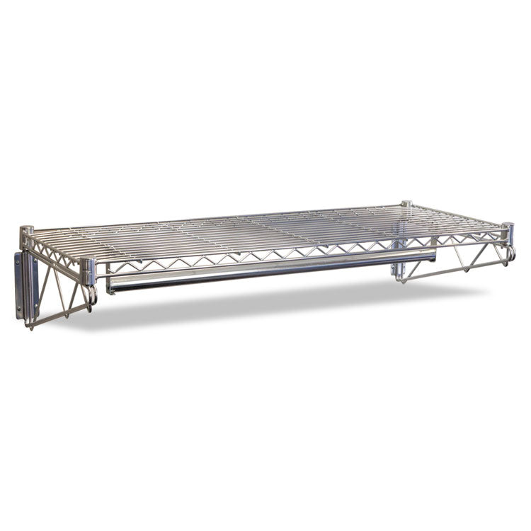 Steel Wire Wall Shelf Rack, 36w X 18d X 7-1/2h, Silver