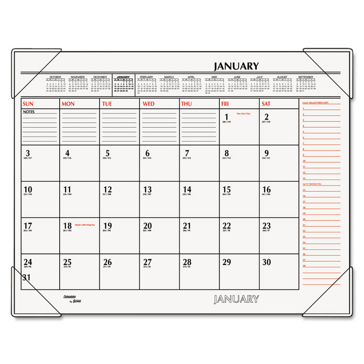 Two-Color Monthly Desk Pad Calendar, 22 X 17, 2017