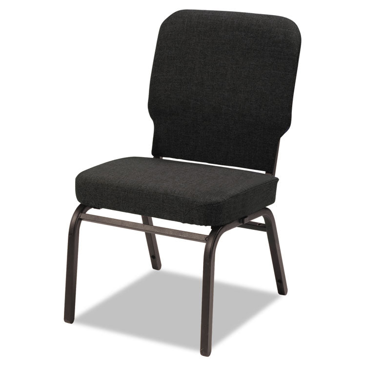 Oversize Stack Chair, Black Fabric Upholstery, 2/carton