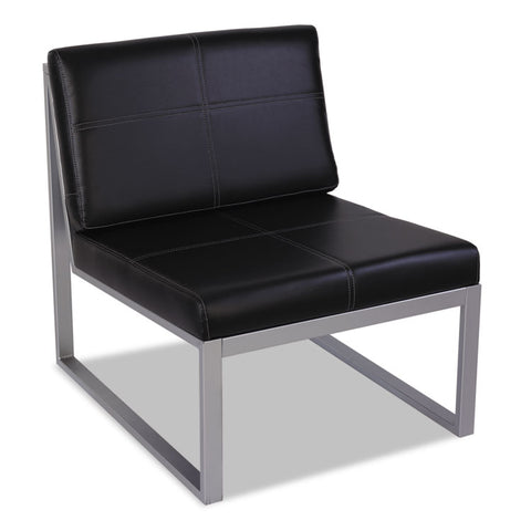 ALERA ISPARA SERIES ARMLESS CUBE CHAIR, 26 3/8 X 31 1/8 X 30, BLACK/SILVER