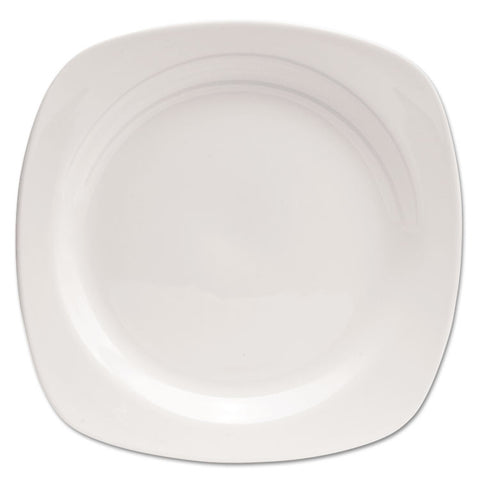 "Chef's Table Porcelain Square Dinnerware, Plate, 10 1/2"" Dia, White, 8/box"