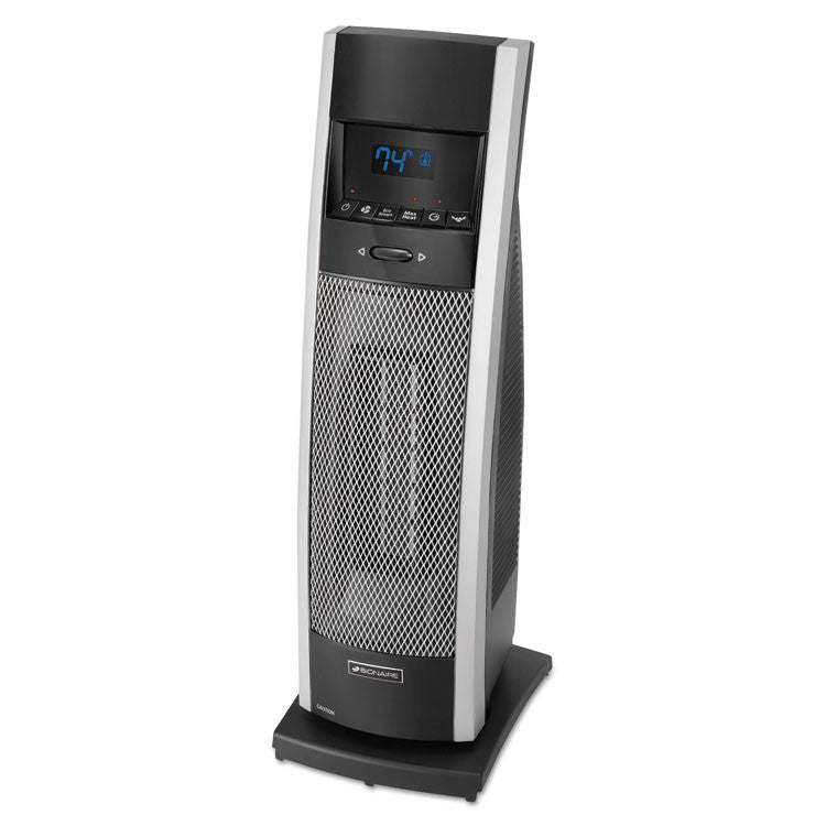 Ceramic Mini Tower Heater With Lcd Control, 1000-1500w, Black