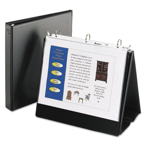 "Easel Presentation Durable Binder, 1"" Round Rings, Holds 11 X 8 1/2 Paper, Black"