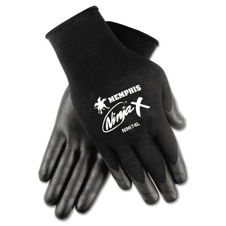 Ninja X Bi-Polymer Coated Gloves, Large, Black, Pair