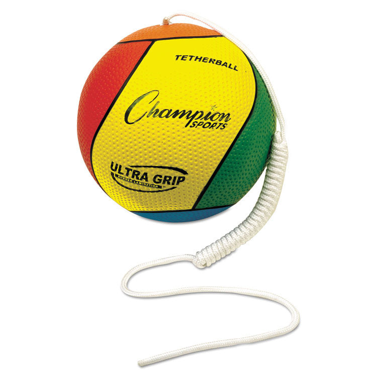 "Ultra Grip Tether Ball, 5"" Diameter, Laminated Rubber, Yellow/green/blue/red"