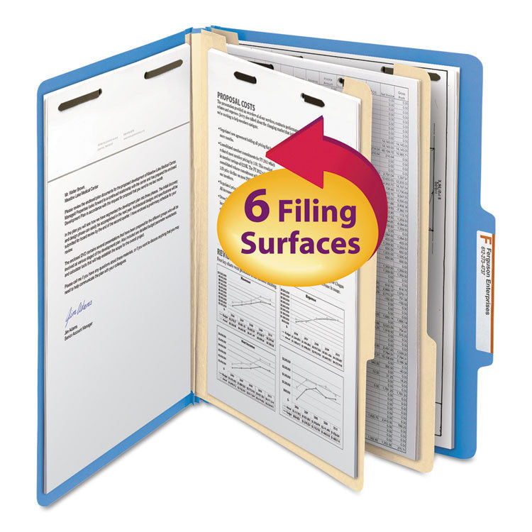 Top Tab Classification Folder, Two Dividers, Six-Sections, Letter, Blue, 10/box