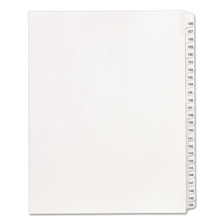 Allstate-Style Legal Exhibit Side Tab Dividers, 25-Tab, 126-150, Letter, White