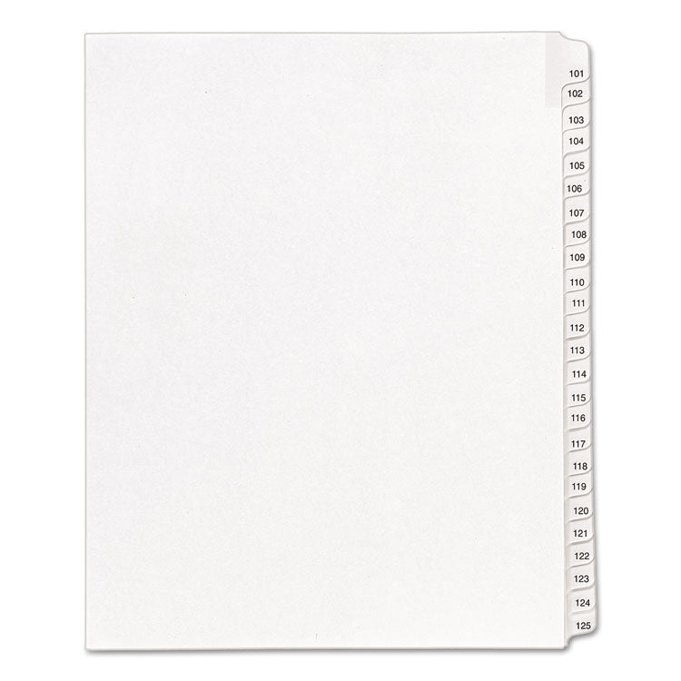 Allstate-Style Legal Exhibit Side Tab Dividers, 25-Tab, 101-125, Letter, White