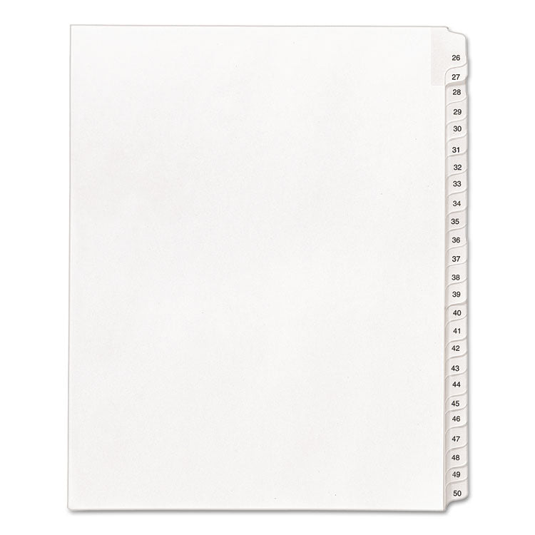 Allstate-Style Legal Exhibit Side Tab Dividers, 25-Tab, 26-50, Letter, White