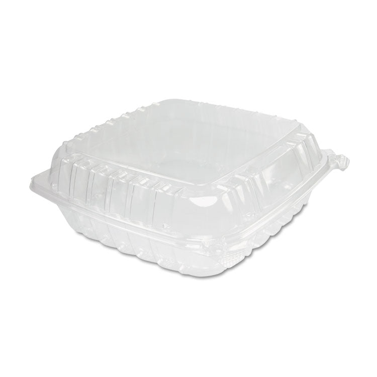 Clearseal Plastic Hinged Container, Large, 9x9-1/2x3, Clear, 100/bag