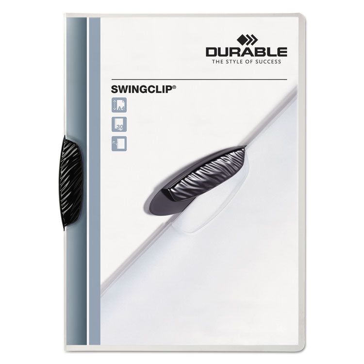 Swingclip Clear Report Cover, Letter Size, Black Clip, 25/box