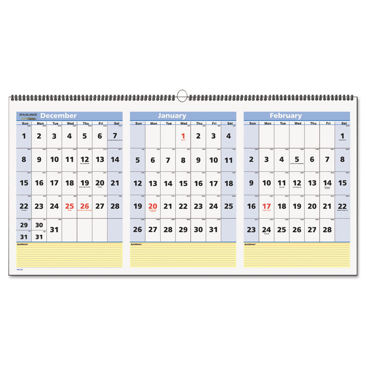 Quicknotes Three-Month Wall Calendar, Horizontal Format, 23 1/2 X 12, 2016-2018
