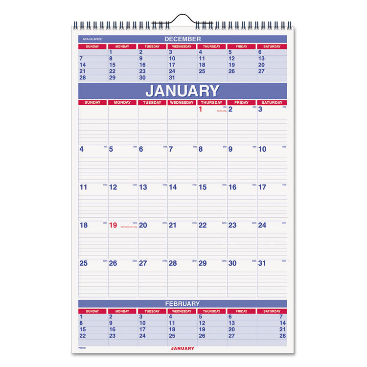 Three-Month Wall Calendar, 15 1/2 X 22 3/4, 2017