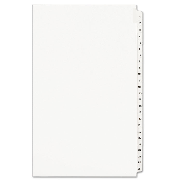 Avery-Style Legal Exhibit Side Tab Divider, Title: 1-25, 14 X 8 1/2, White