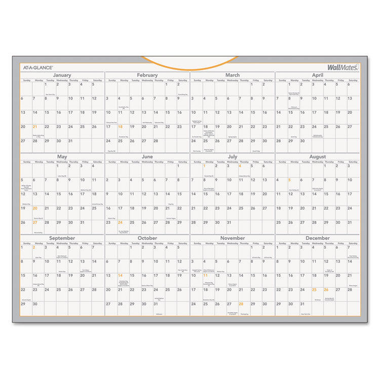 Wallmates Self-Adhesive Dry Erase Yearly Calendar, 24 X 18, 2017