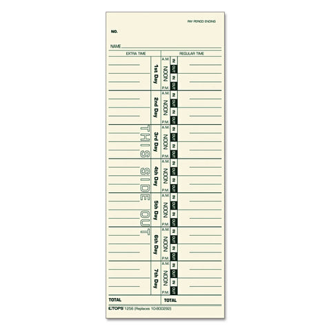 Acroprint/cincinnati/lathem/simplex/stromberg Time Card 3 1/2 X 9, 500/box