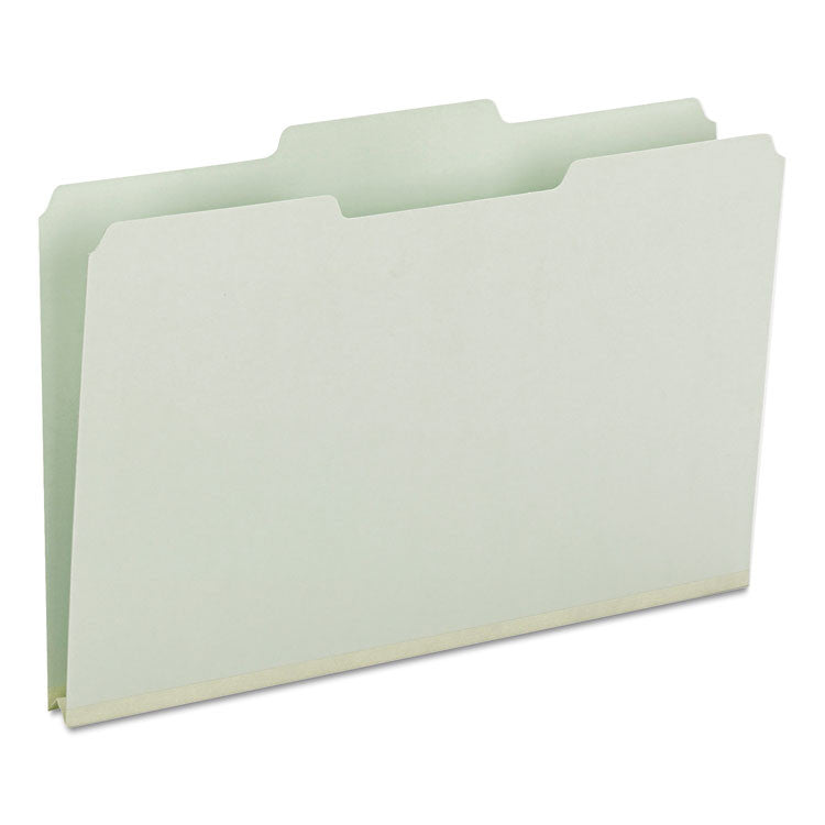 Recycled Folders, One Inch Expansion, 1/3 Top Tab, Legal, Gray Green, 25/box