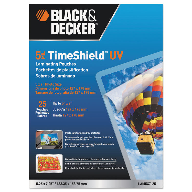 Timeshield Uv Laminating Pouches, 5 Mil, 5 X 7, 25/pack