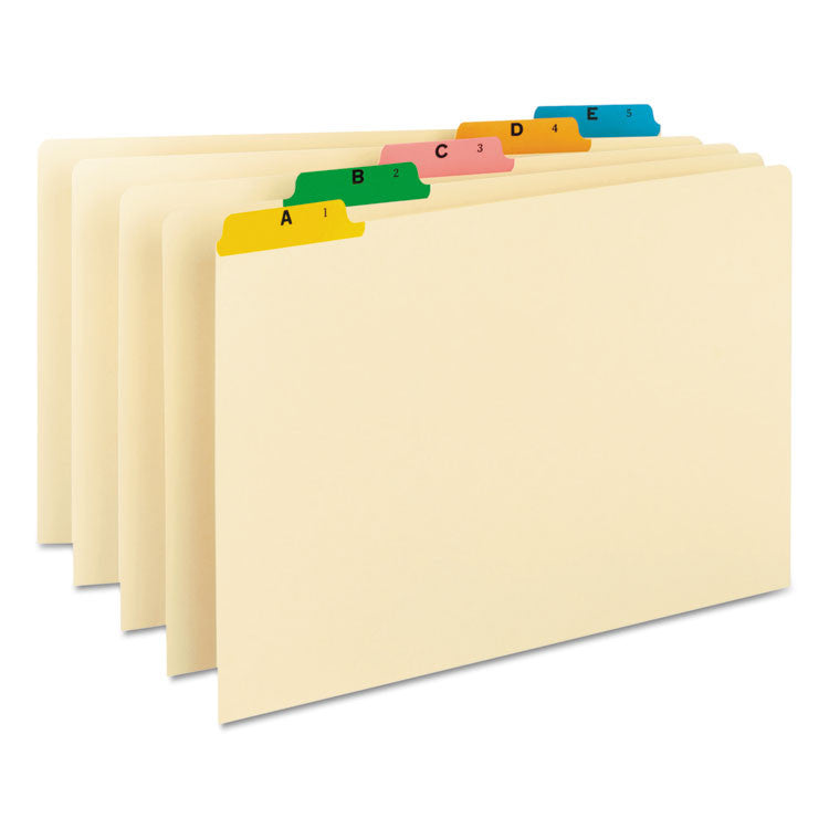 Recycled Top Tab File Guides, Alpha, 1/5 Tab, Manila/color, Legal, 25/set