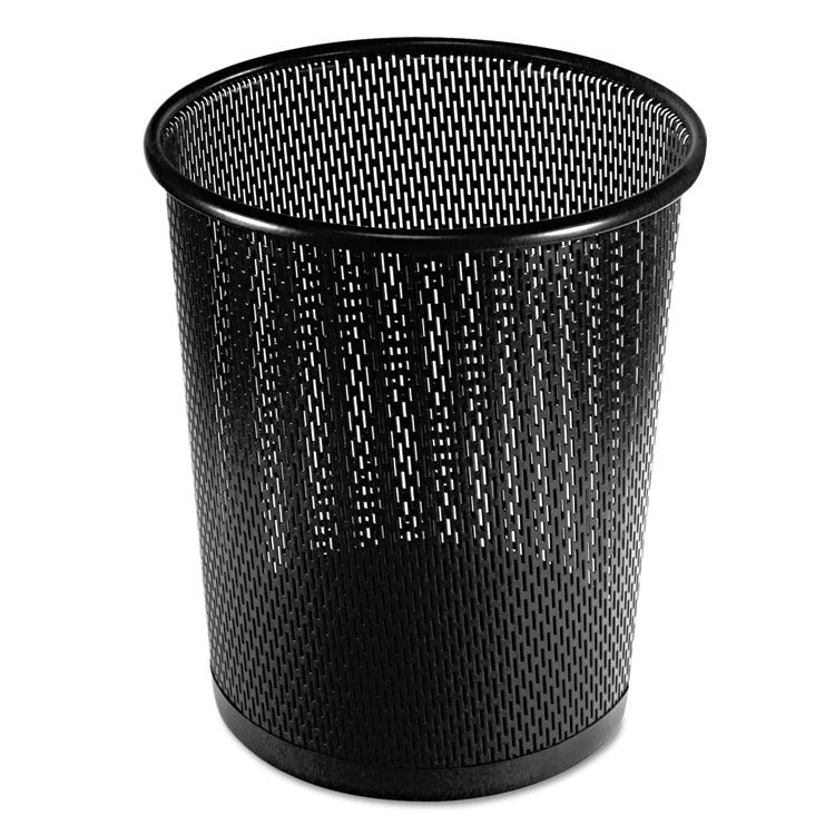 "Urban Collection Punched Metal Wastebin, 20.24 Oz, Steel, Black Satin, 9""dia"