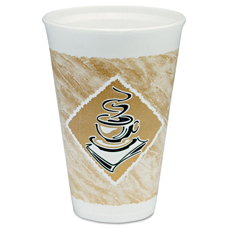 Cafe G Hot/cold Cups, Foam, 16 Oz, White/brown With Green Accents, 25/pack