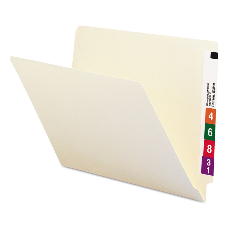 Shelf Folders, Straight Cut, Single-Ply End Tab, Letter, Manila, 100/box