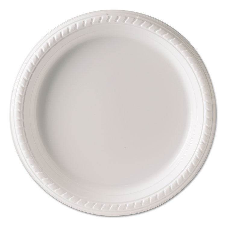 Plastic Plates, 9 Inches, White, Round, 25/pack, 20 Packs/carton