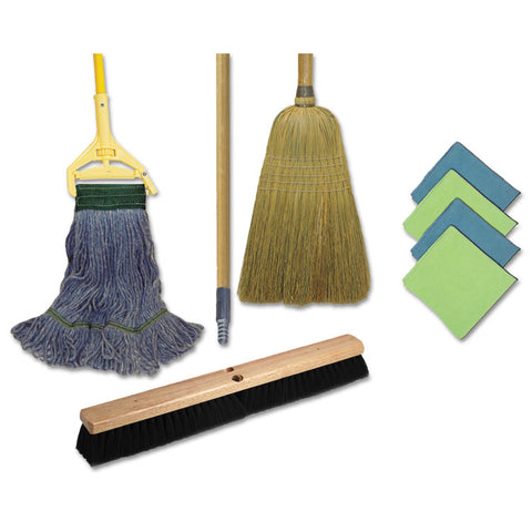 CLEANING KIT, 1 MOP, 2 HANDLES, 1 PUSH BROOM, 1 MAIDS BROOM, 4 MICROFIBER WIPES