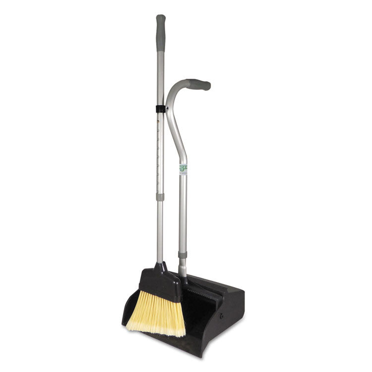 "Telescopic Ergo Dust Pan With Broom, 12"" Wide, 45"" High, Metal, Black/silver"