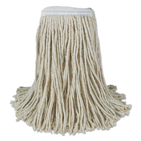 Banded Cotton Mop Heads, 24oz, White, 12/carton