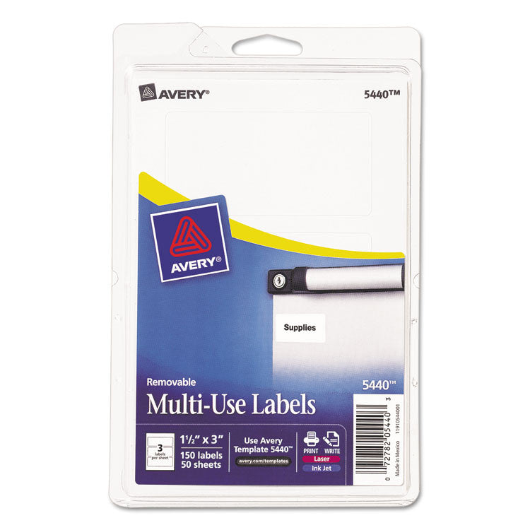 Removable Multi-Use Labels, 1 1/2 X 3, White, 150/pack
